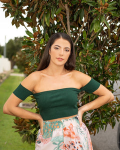 LIMITED EDITION-Ayla Ribbed Crop Top in Emerald freeshipping - Evangeline