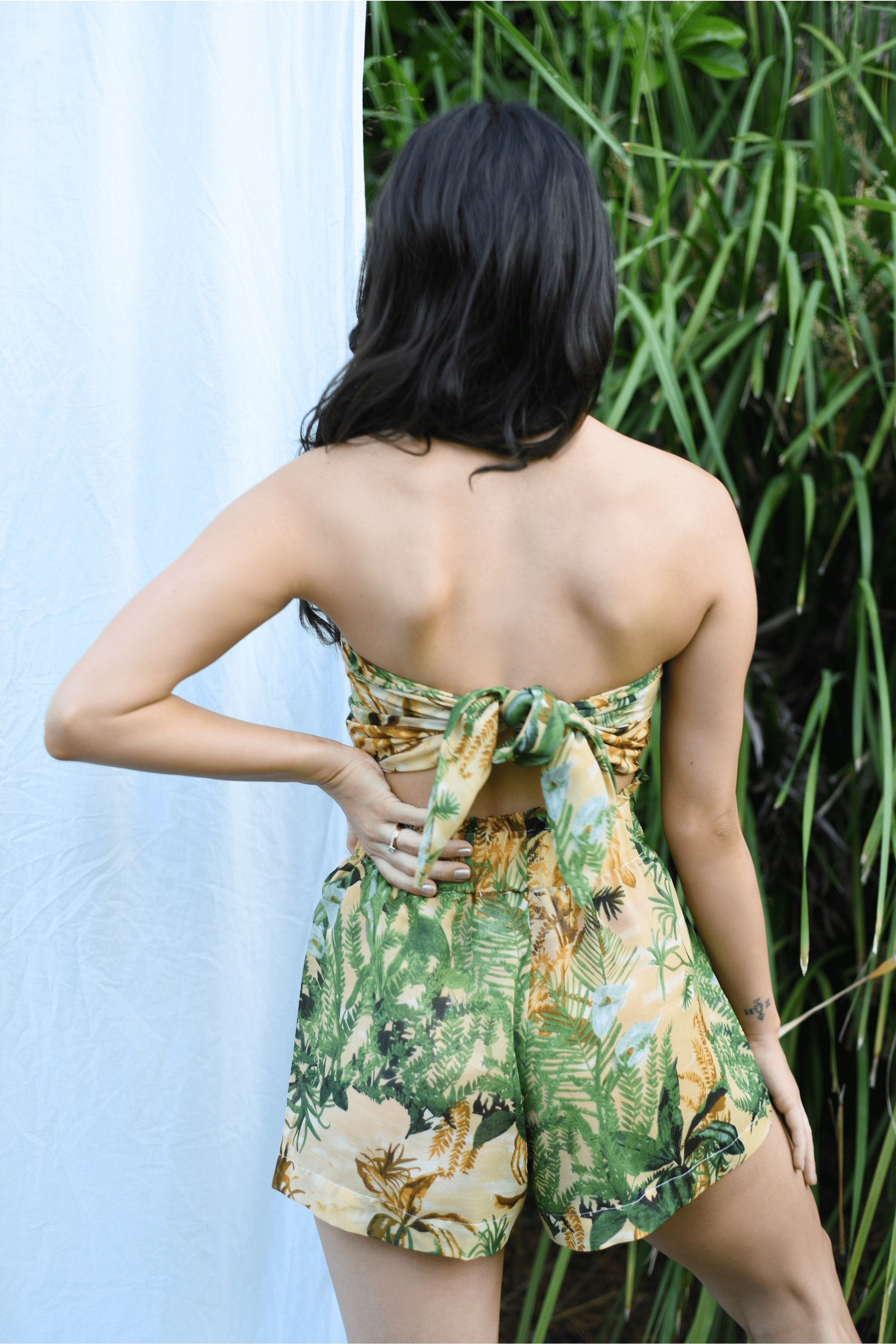 LIMITED EDITION-Katie Bamboo Tie Top in Botanical Print MADE IN AUSTRALIA