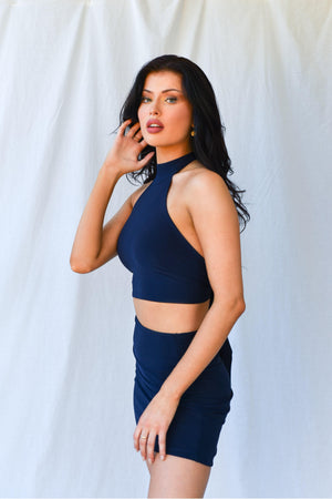 Amber Crop Top Midnight Blue freeshipping - Evangeline