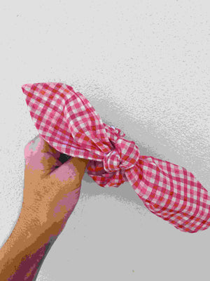 Pink Gingham Hair Tie freeshipping - Evangeline
