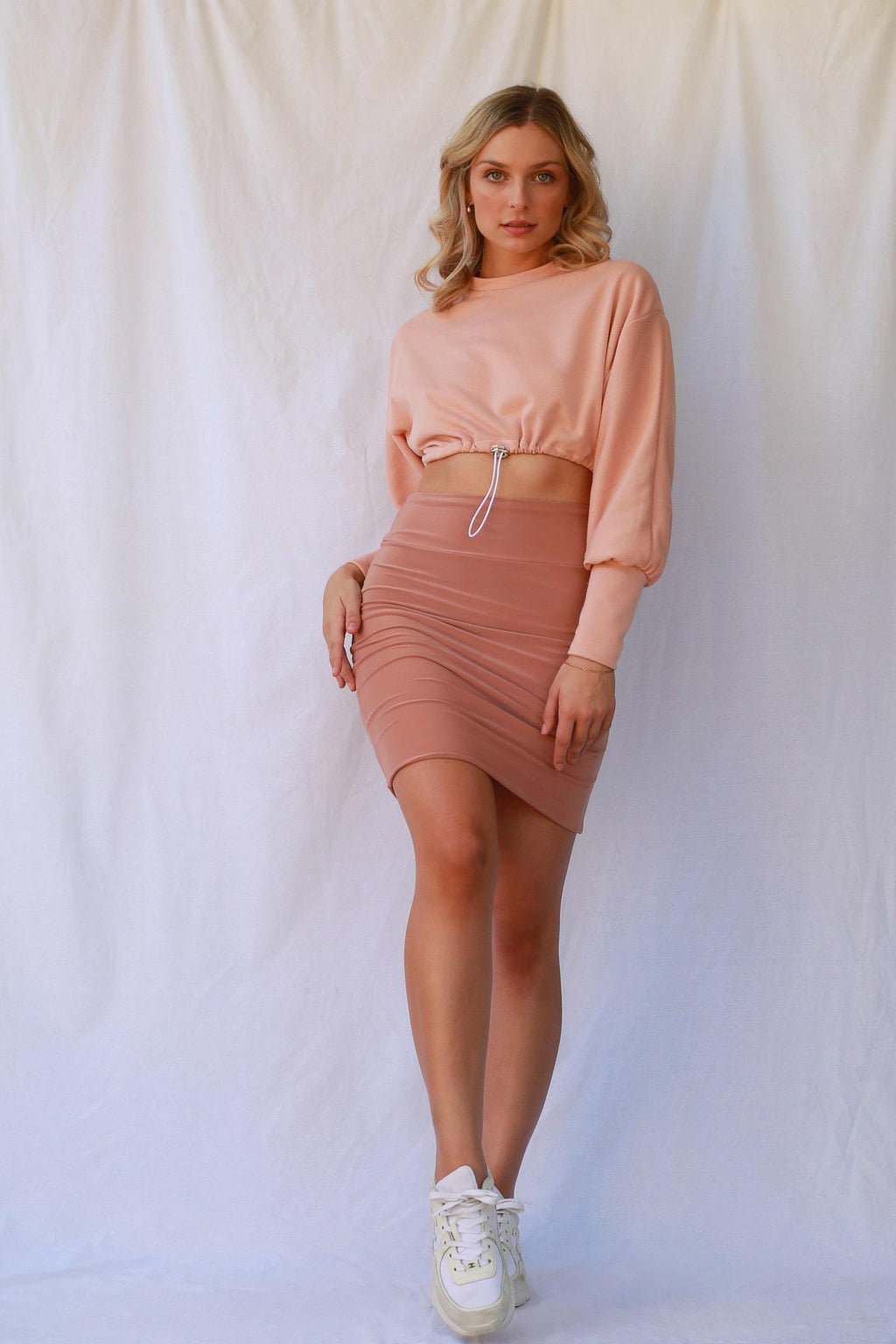 Robbi Cropped Jumper Dusty Pink MADE IN AUSTRALIA