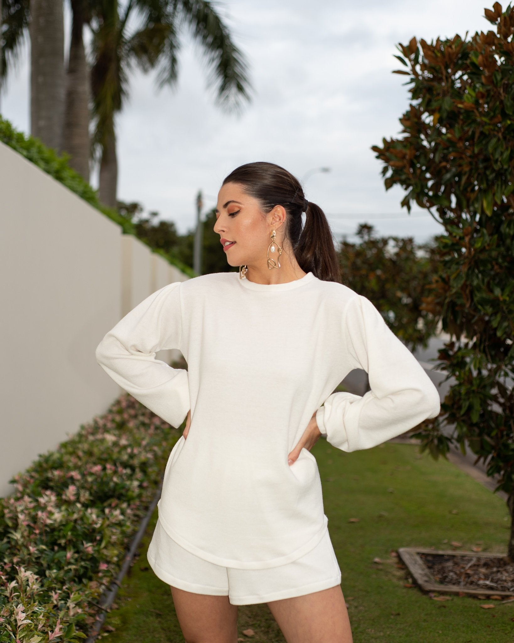 Sophie Soft Puff Sleeve Jumper in Vanilla MADE IN AUSTRALIA