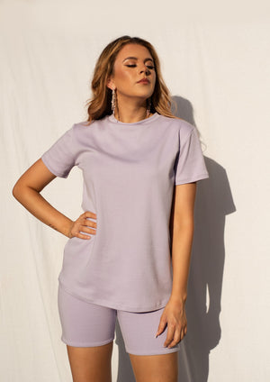 Sophie T-Shirt in Pastel Lilac MADE IN AUSTRALIA