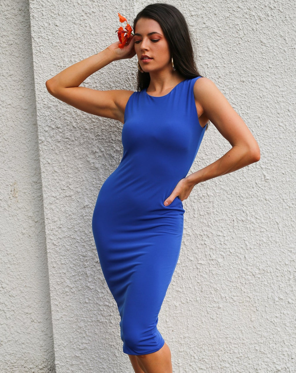 Stella Fitted Midi Dress in Cobalt freeshipping - Evangeline