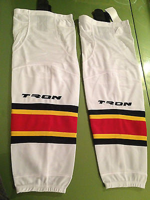 "Tron Adult White Dry Fit Hockey Socks - 30"" Inch"