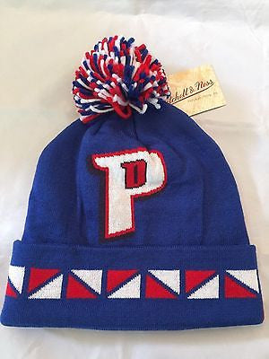 NBA Detroit Pistons Adult Winter Hat with Pom