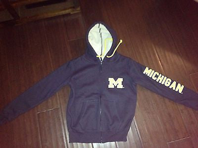 NCAA University of Michigan Men's Small Full Zip Jacket with Fleece Lined Hood