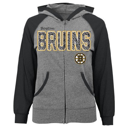 NHL Boston Bruins Full Zip Girls Hooded Sweatshirt
