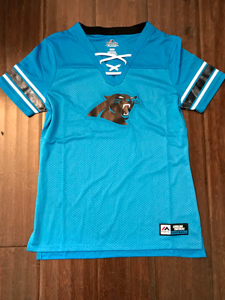 wholesale dealer d09f6 a558e NFL Carolina Panthers Women's Jersey Shirt with Laces