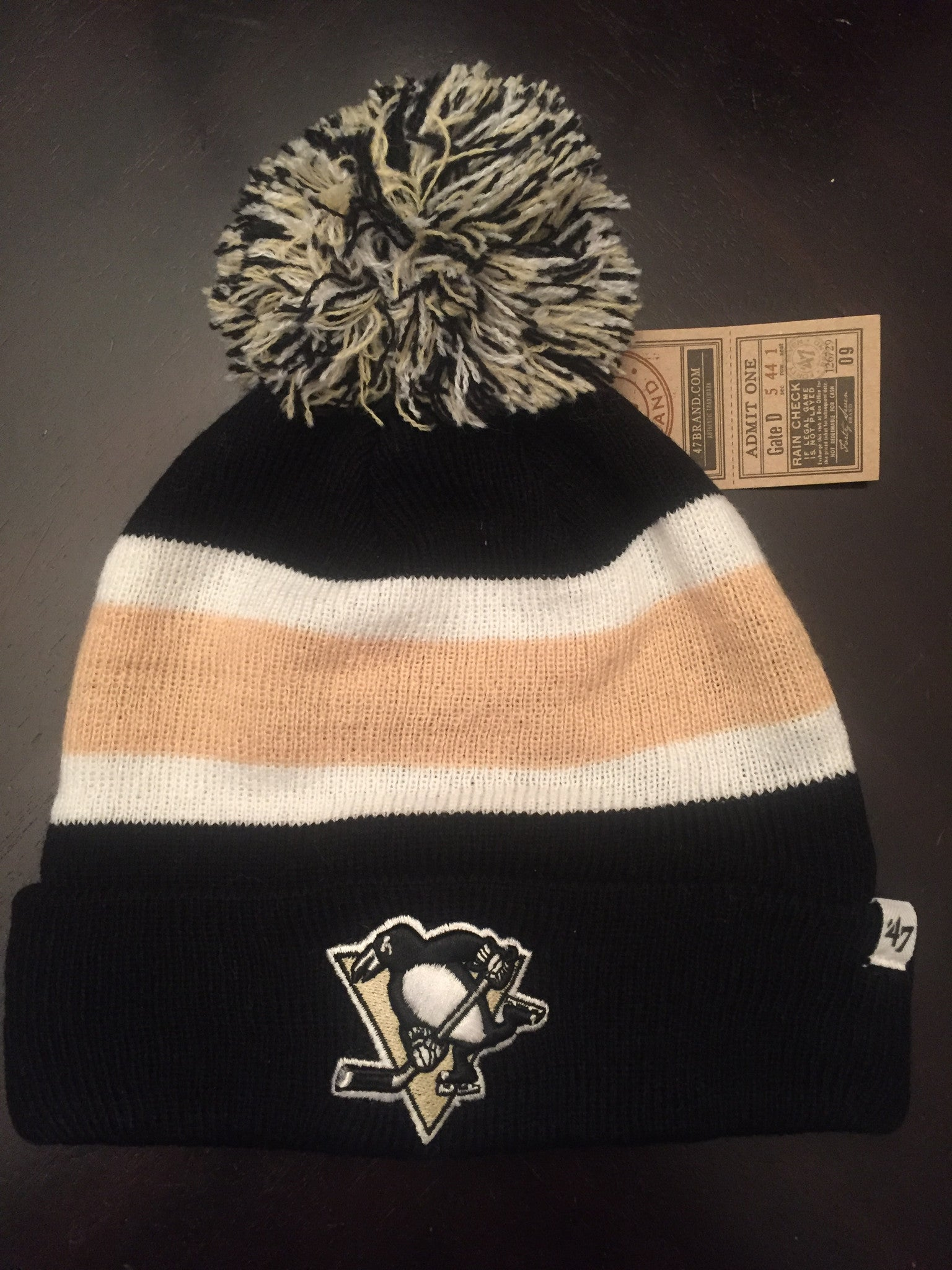 7594f0c3 NHL Pittsburgh Penguins Cuffed Winter Hat with Pom – MancavesOnline