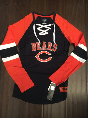 86790be9f NFL Chicago Bears Women's Winning St. Lace Up Long Sleeve Shirt