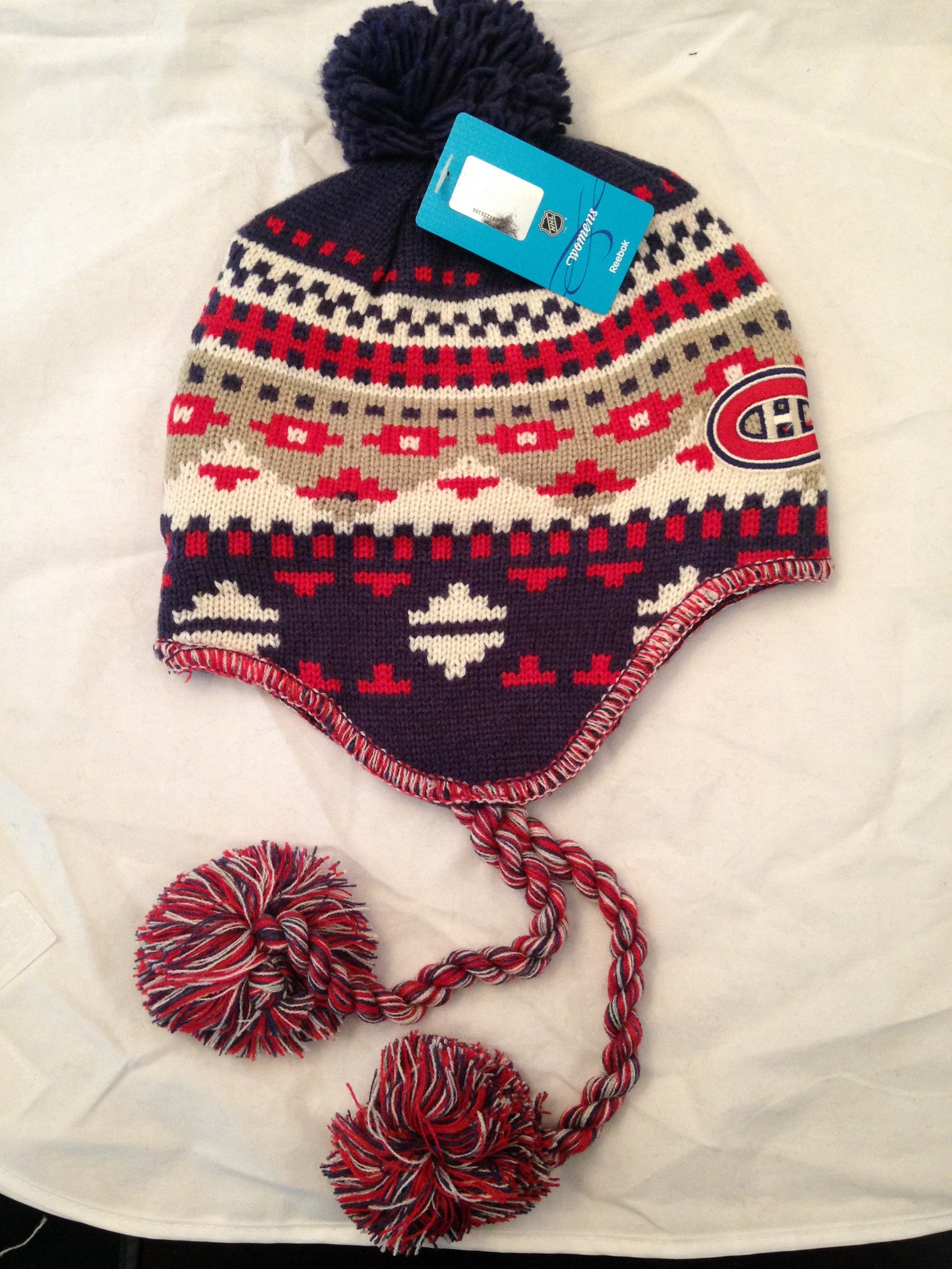 931b7eb5f1831a NHL Montreal Canadiens Women's Knit Winter Hat with Tassles – MancavesOnline