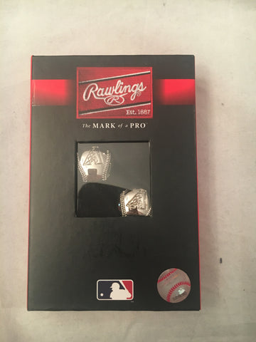 MLB Arizona Diamondbacks Engraved Rhodium Plated Cuff Links