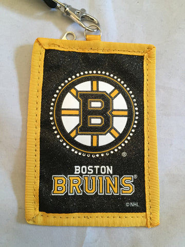 NHL Boston Bruins Jeweled Lanyard with Detachable Logo ID Wallet