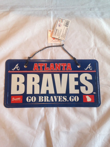 "MLB Atlanta Braves ""Go Braves"" License Plate with Chain"