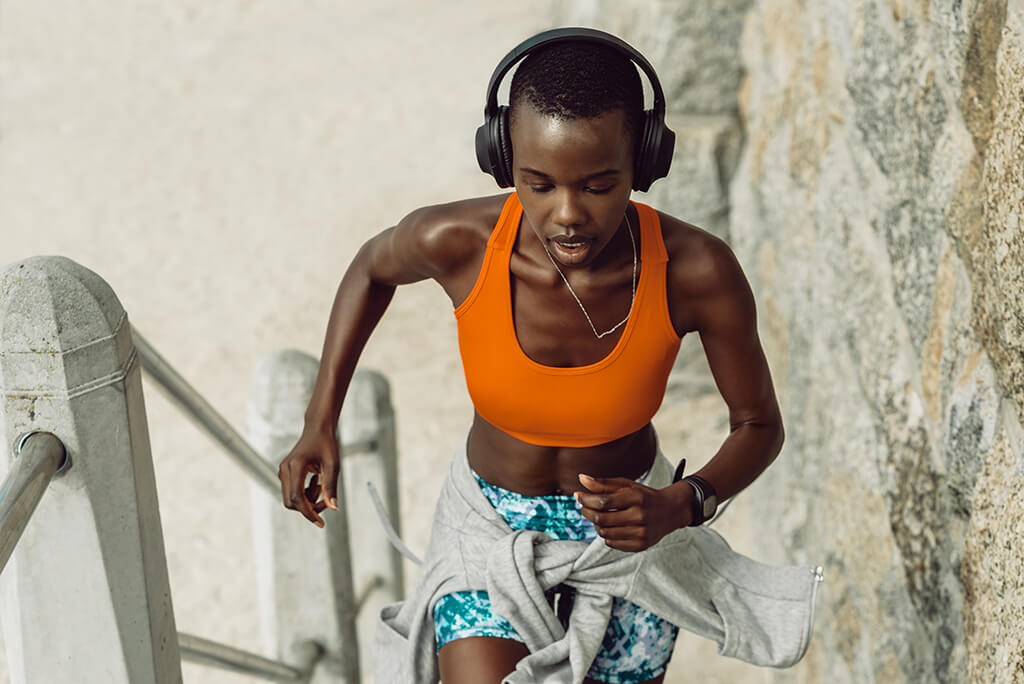 girl on a running exercise