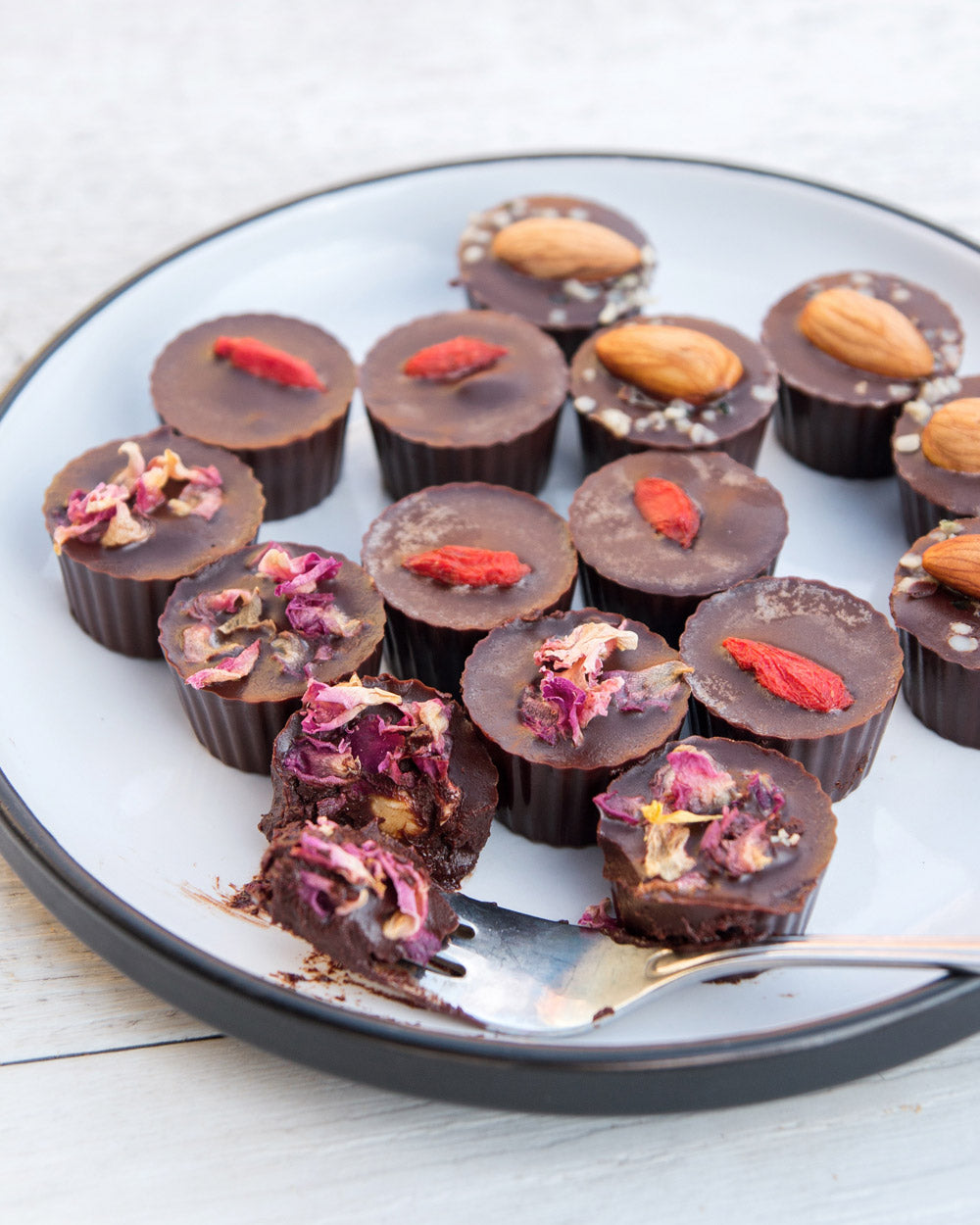 Home-made Fudgy Hazelnut Filled Chocolates