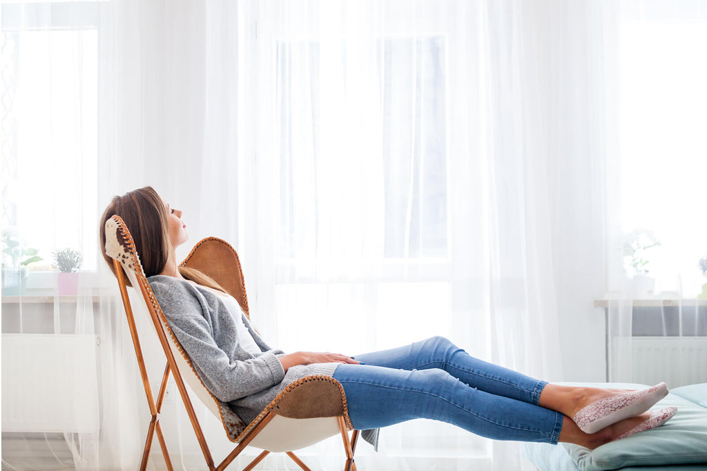 girl in a lounge chair
