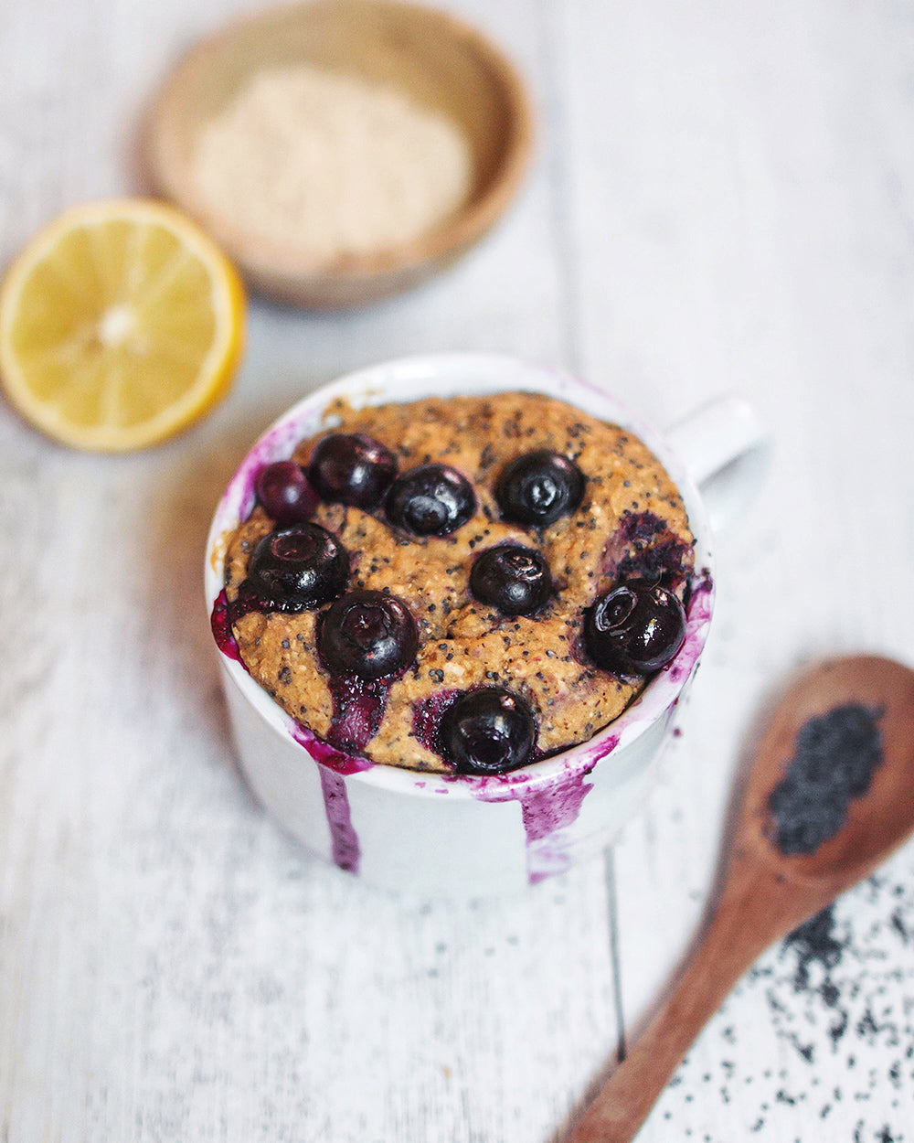 Lemon, Blueberry & Poppyseed Mug Cake