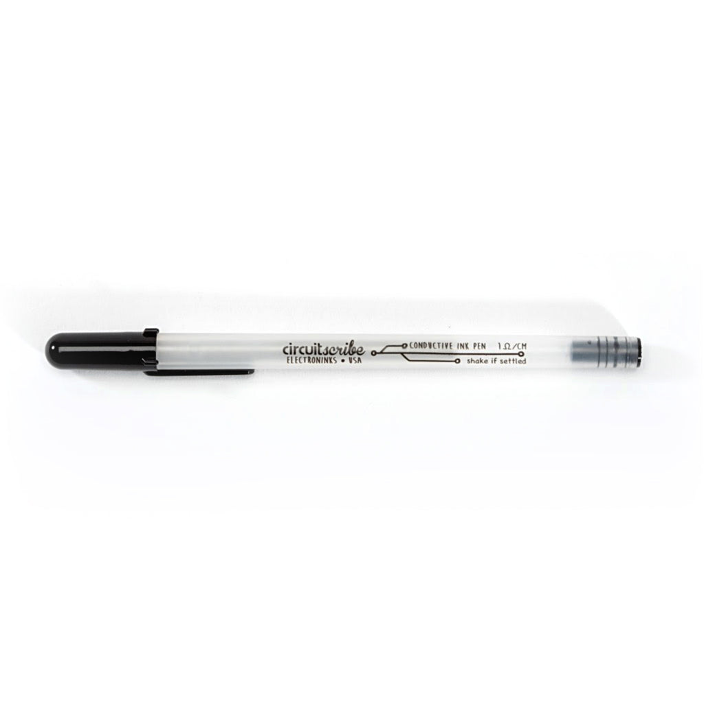 The Circuit Scribe conductive ink circuit pen on a white background. Our conductive pens are not sold separately and now can be easily replaced. These pends can draw up to 200 meters depending on the writing surface. With photo paper you can erase the ink.
