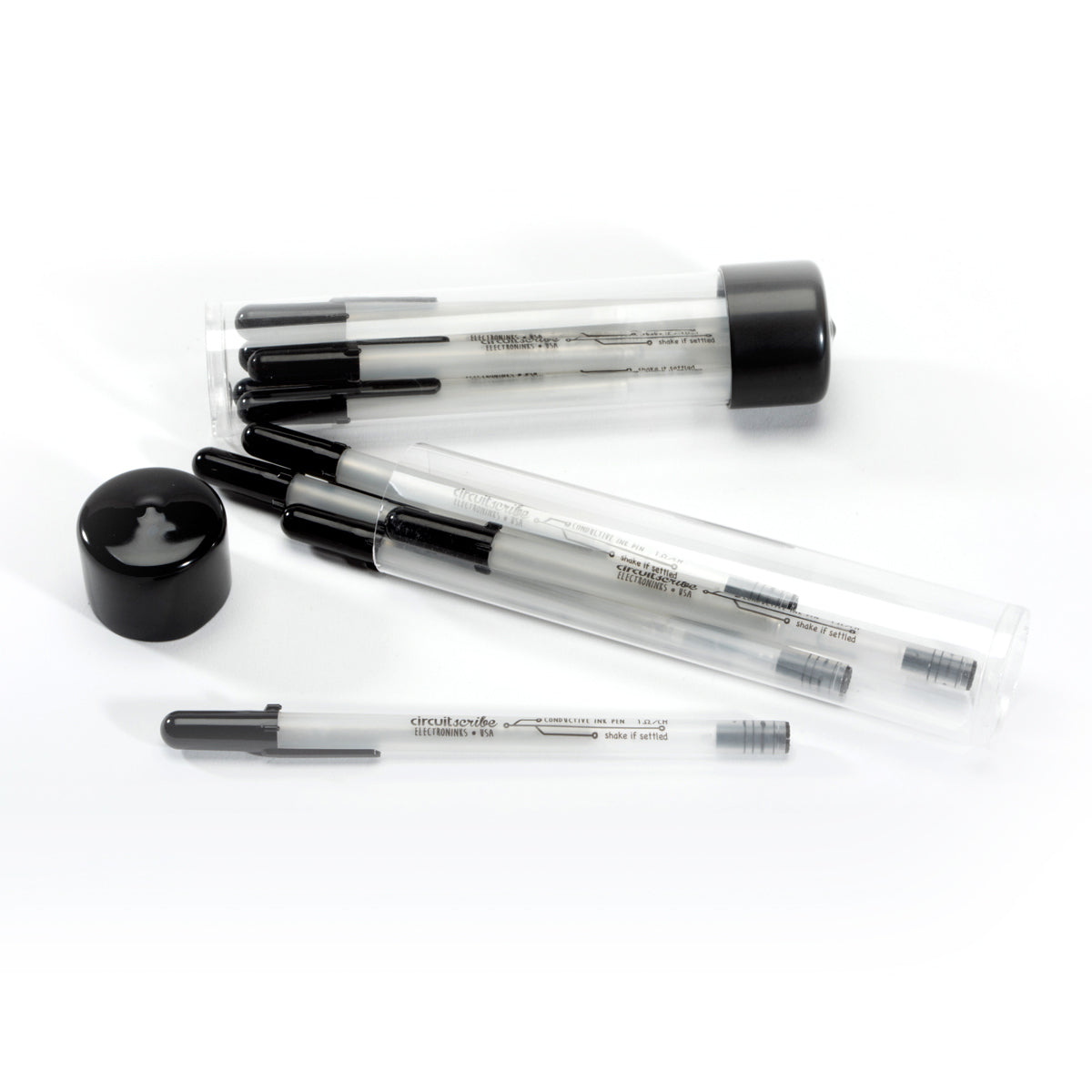 A pack of Circuit Scribe conductive ink pens on a white background.