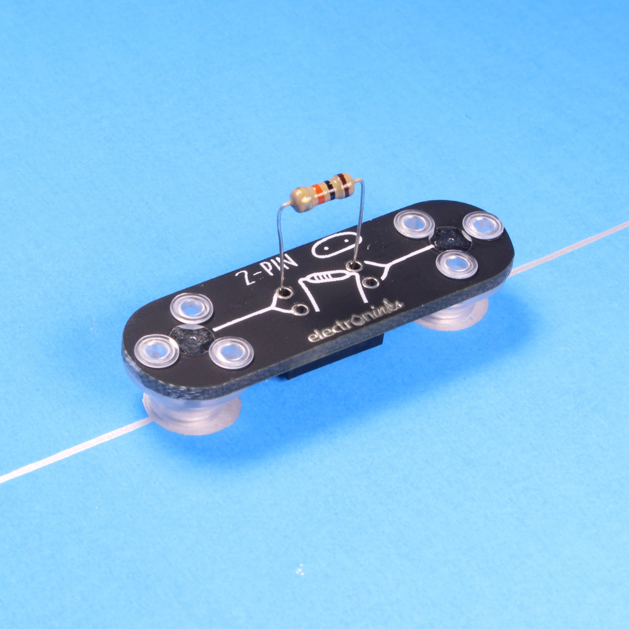 A DIY Connector Circuit Scribe module with resistors on conductive ink circuit.