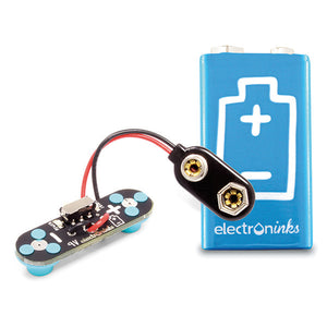 A 9V Battery Circuit Scribe module and a 9V Circuit Scribe batter on a white background.