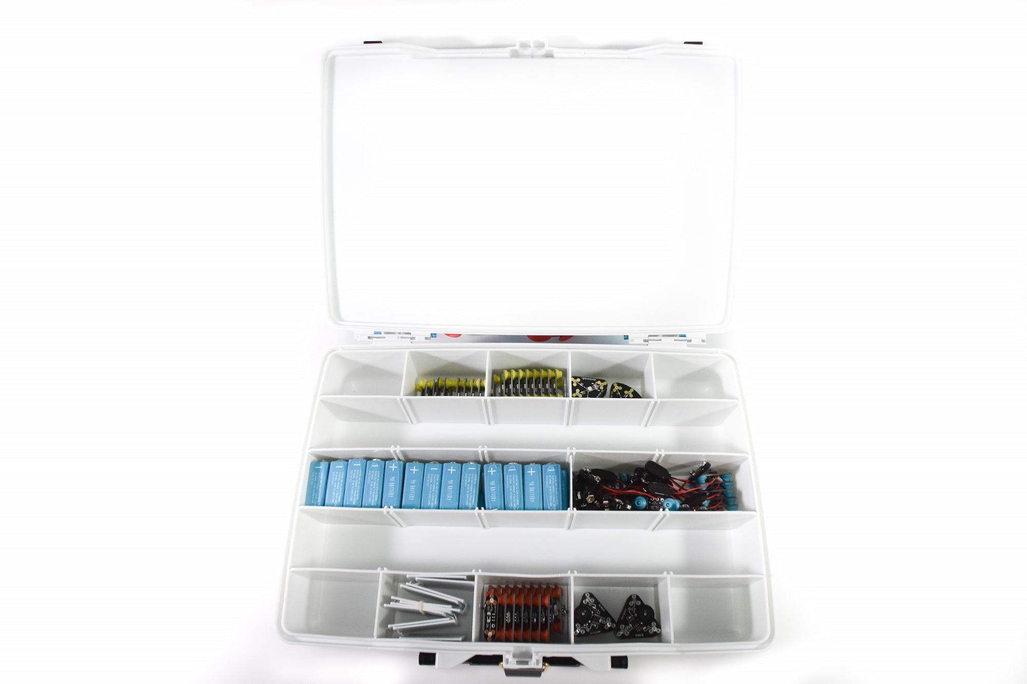 The Circuit Scribe Intro Classroom Kit opened to display included circuit modules.