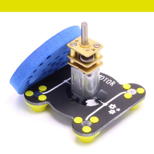 The Circuit Scribe Motor Module on a white background. This module spins quickly when a voltage is applied. Module includes a soft foam wheel. Students can create their own propellers or paper crafts and put them on top.The motor can spin in either direction depending on where the motor is.