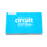 A Circuit Scribe branded steel sheet for magnetic modules on a white background. Rectangle blue steel canvas. Metal sheet that serves as a magnetic surface for the Circuit Scribes module kits. The steel canvas is like a bookmark.