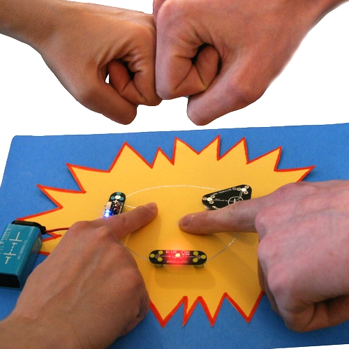 a  high five detector circuit made of conductive silver ink and modules