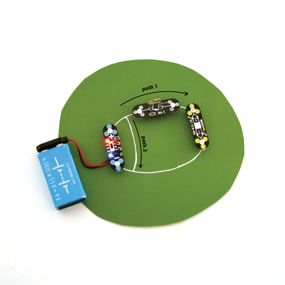 A circuit on paper made with circuit scribe conductive silver ink with an added path drawn to create a short circuit- using 1 power module, 1 red-blue LED module and 1 DIY connector module with resistor inserted on top
