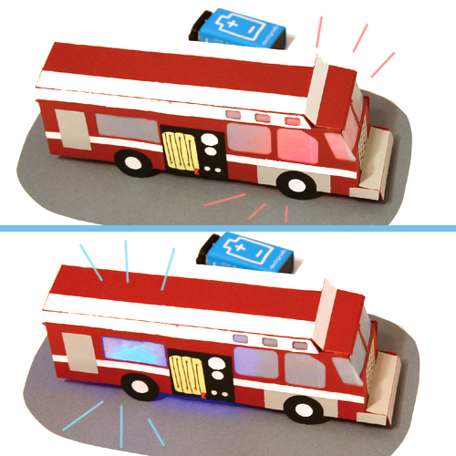 Papercraft fire truck alternating blinking red and blue using cir scribe conductive ink, LED modules, power module and 9 volt battery