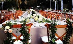 Reception tabletops and chairs styled by Poppy's
