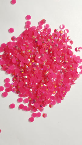Dark Pink Ab Rhinestones - Jellies 3mm - 5mm You pick Size
