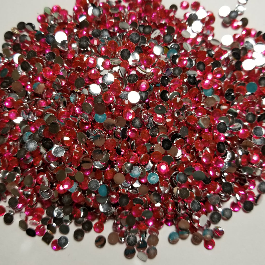 Hot Pink Rhinestones 2mm - 6mm You pick Size