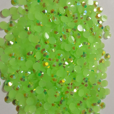 Neon Lime Green  Ab Rhinestones 2mm - 6mm You pick Size