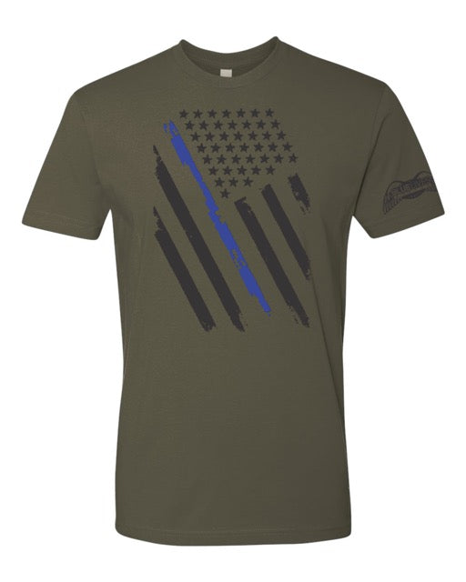 Army Green Blue Line Flag Tee