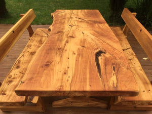 Macrocarpa slab table with backs - FourLeaf  - 3