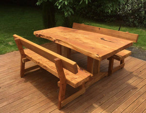 Macrocarpa slab table with backs - FourLeaf  - 4