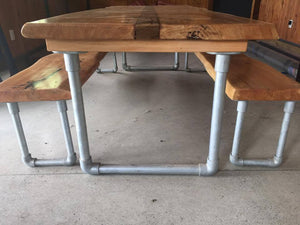 Slab Table with Steel Legs