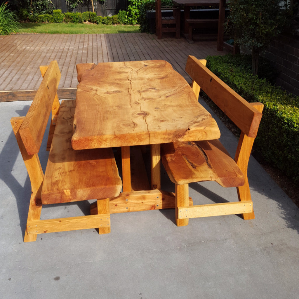 Macrocarpa slab table with backs - FourLeaf  - 8