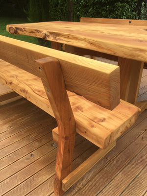 Macrocarpa slab table with backs - FourLeaf  - 7