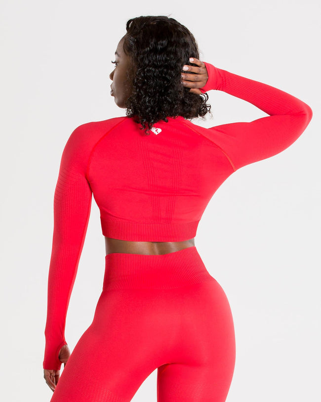Power Seamless Long Sleeve Crop Top | Red