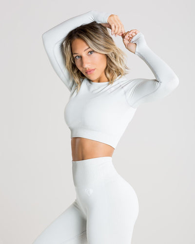 Power Seamless Long Sleeve Crop Top | Washed Light Grey