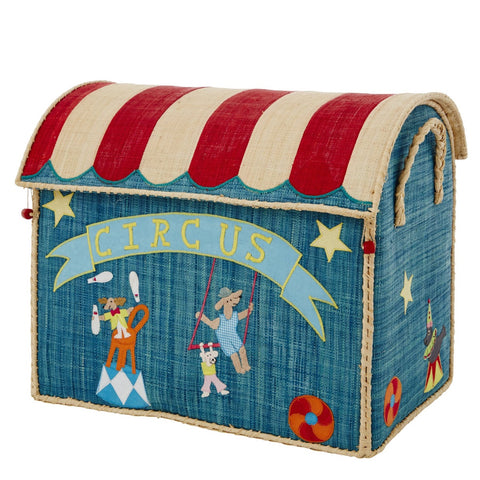 Rice DK Raffia Toy Storage House 'Circus' - Set of 3