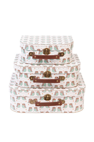 Set of 3 Suitcases - Owl