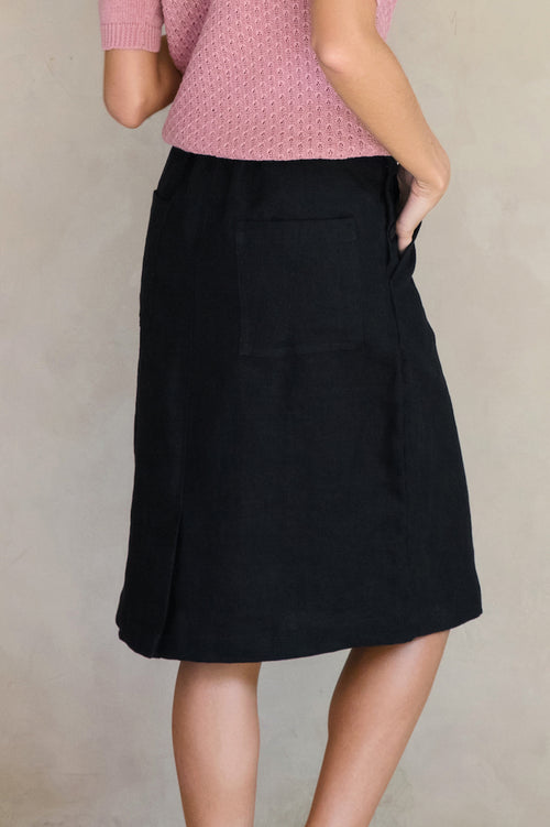 Regalo Linen Skirt - Black