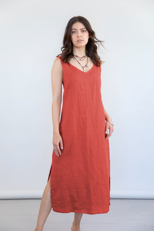 Mudra Linen Dress - Red Clay