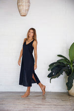 charley vella linen black dress